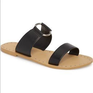 NWT Topshop Black Leather Slide Sandals